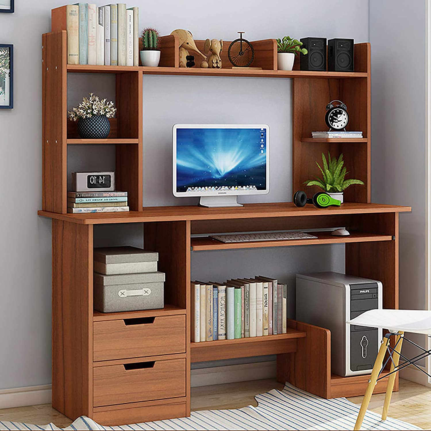 XM&LZ Modern Computer Desk with Hutch and Bookshelf,47 Inches Laptop PC Table with 2 Drawer Shelves,Large Writing Study Table for Home Office-Walnut 120x45x132cm(47x18x52inch)