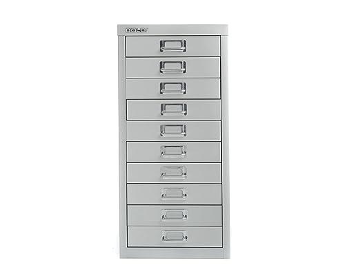 Bisley Desktop Cabinet 10 Drawer H590xW279xD380mm Steel   Color: Silver