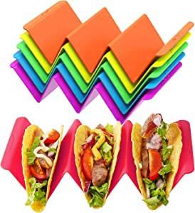 Colorful Taco Holder Stands Set of 6 - Premium Large Taco Tray Plates Holds Up to 3 or 2 Tacos Each, PP Health Material Very Hard and Sturdy, Dishwasher & Microwave Safe
