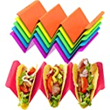 Colorful Taco Holder Stands Set of 6 - Premium Large Taco Tray Plates Holds Up to 3 or 2 Tacos Each, PP Health Material…