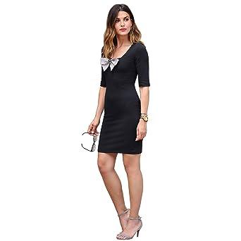 052687ee1 Vestido de Escote Cuadrado y Manga al Codo Mujer by Vencastyle ...