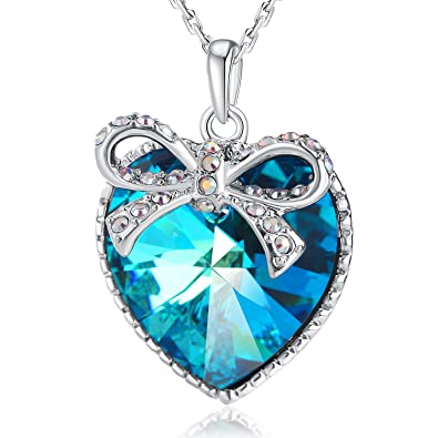 Amazon plato h gift packaging blue heart butterfly necklace plato h gift packaging blue heart butterfly necklace bowtie crystal heart pendant neckalce with aloadofball Images
