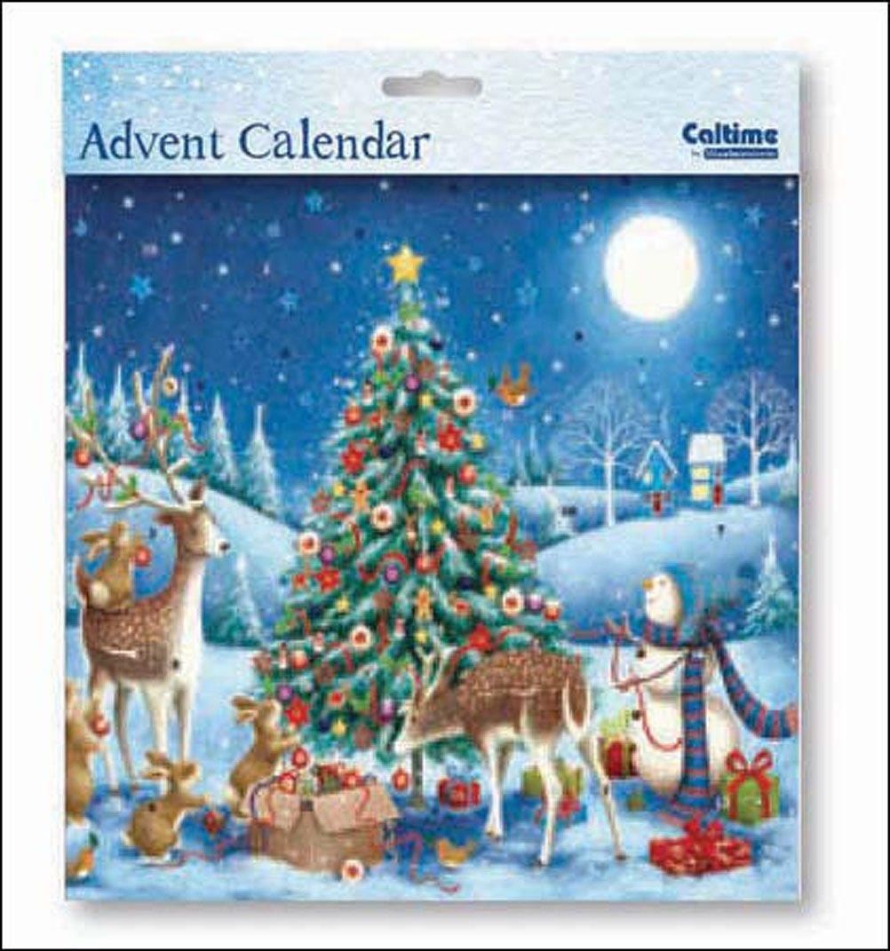 Square Advent Calendar (WDM9658) Caltime - Around The Tree - Glitter Varnished Woodmansterne