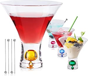 Unique Stemless Martini Glasses Set of 4, Colored Cocktail Glasses 6oz with 4pcs Picks- Perfect Glassware for Home Bar, Restaurant, Parties - Hand Wash Only
