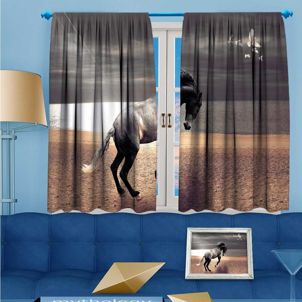 SCOCICI1588 2 Panel Curtains The rain is coming, the animals are running and hiding Linen Window Curtains Rod Pocket Top W84'' x L63'' Pair