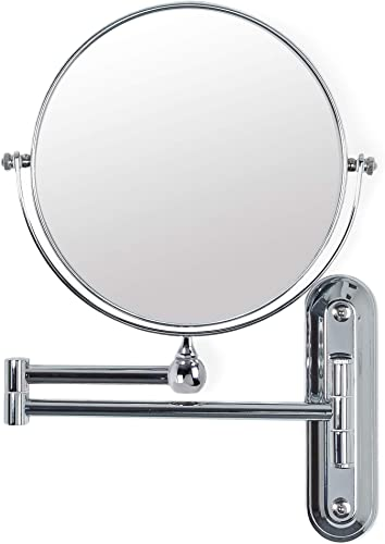 Better Living Products 13542 Valet Wall Mount Magnified Mirror, Chrome, 8-Inch