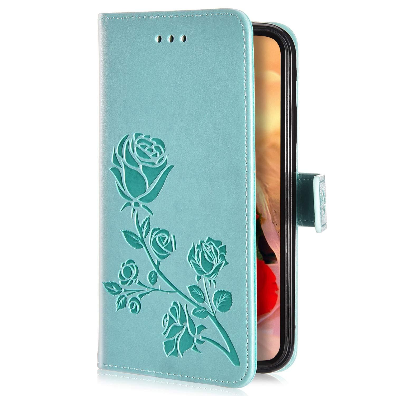 Uposao Case Compatibile con Huawei Honor 7X,Custodia con Strap Tinta Unita Case PU Pelle Protettiva Portafoglio Cover Flip Wallet Caso con Supporto di Stand//Carte Slot-Rosso