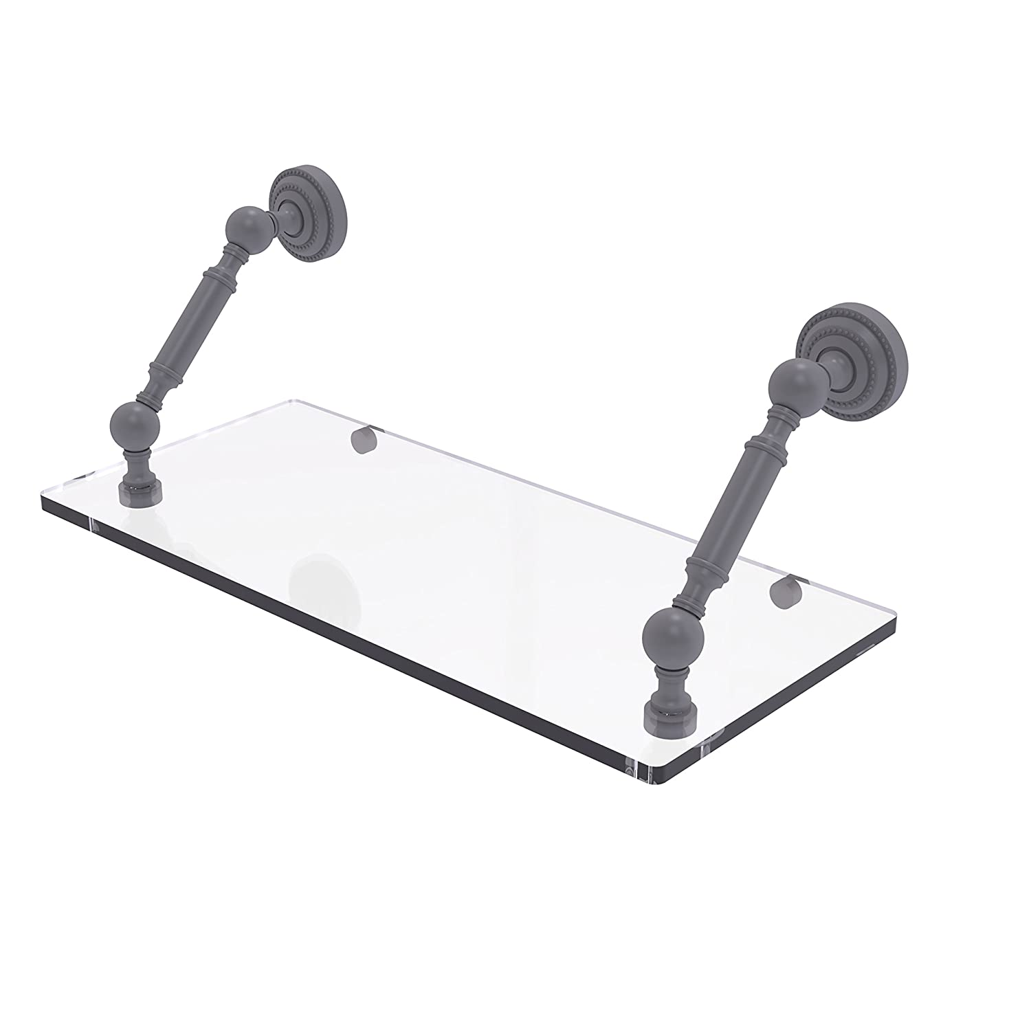 Allied Brass DT-1-18-GYM Dottingham Collection 18 Inch Floating Glass Shelf Matte Gray