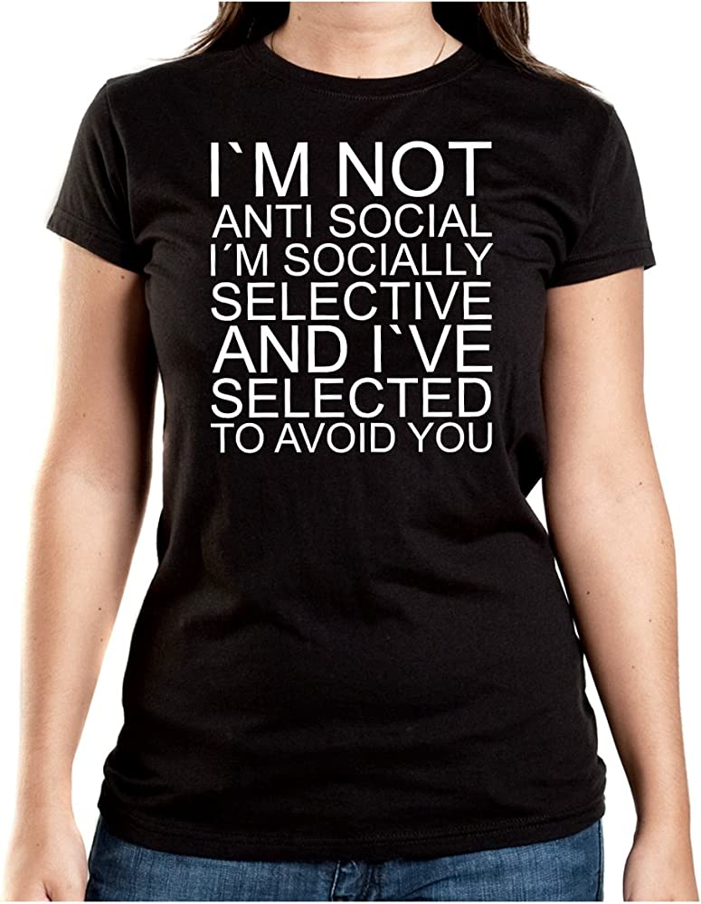 I Am Not Anti Social T-Shirt Girls Negro-S: Amazon.es: Ropa y accesorios