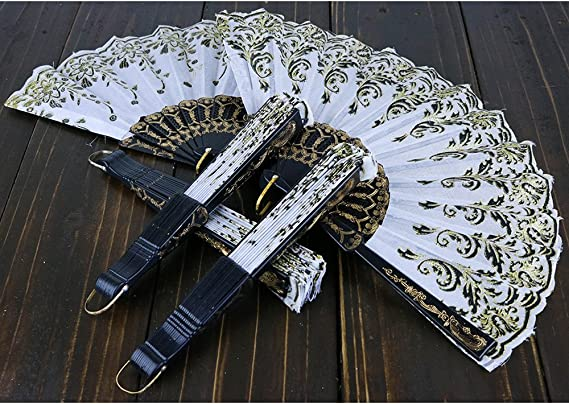sequins. Feather....You can chose to have it with gold or silver,appliqu\u00e9 Handmade hand fan