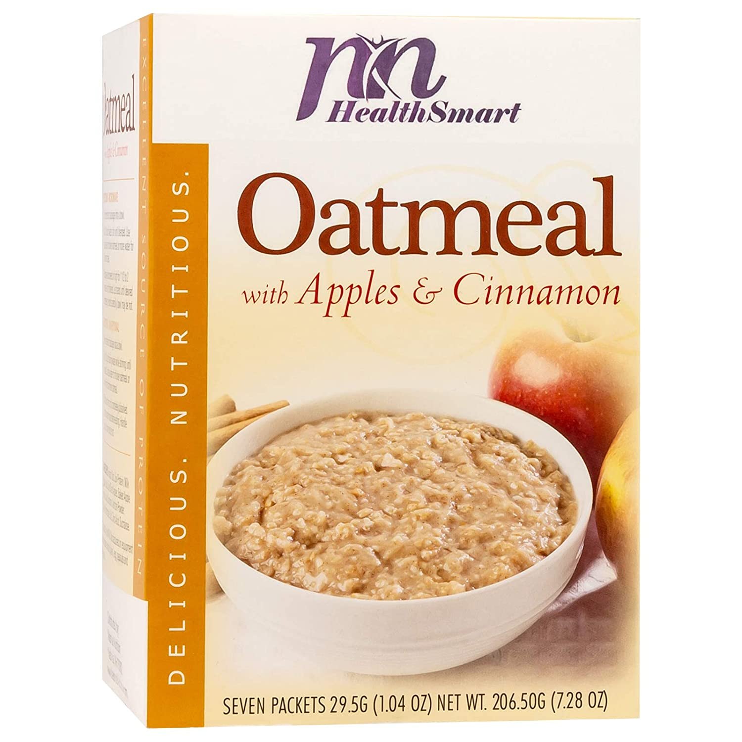 HealthSmart High Protein Apples and Cinnamon Oatmeal, 15g Protein, Low Calorie, Low Carb, Low Fat, Instant Diet Oatmeal Mix, KETO Friendly, Ideal Protein Compatible, 7 Count Box
