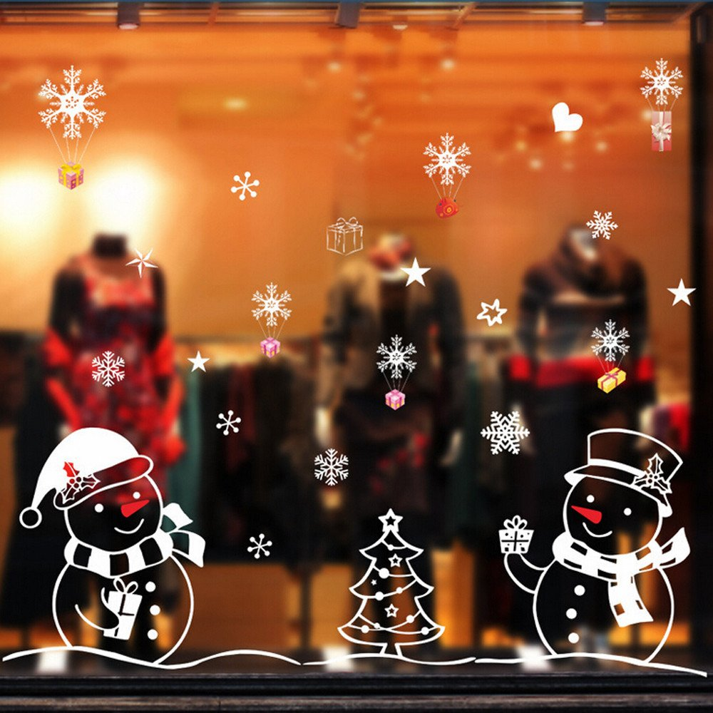 Christmas Decoration Snow Window Stickers Xmas Snowman Christmas Tree Gift Removable Home Vinyl Window Wall Stickers Party Decal Decor (A, 50 * 70cm)