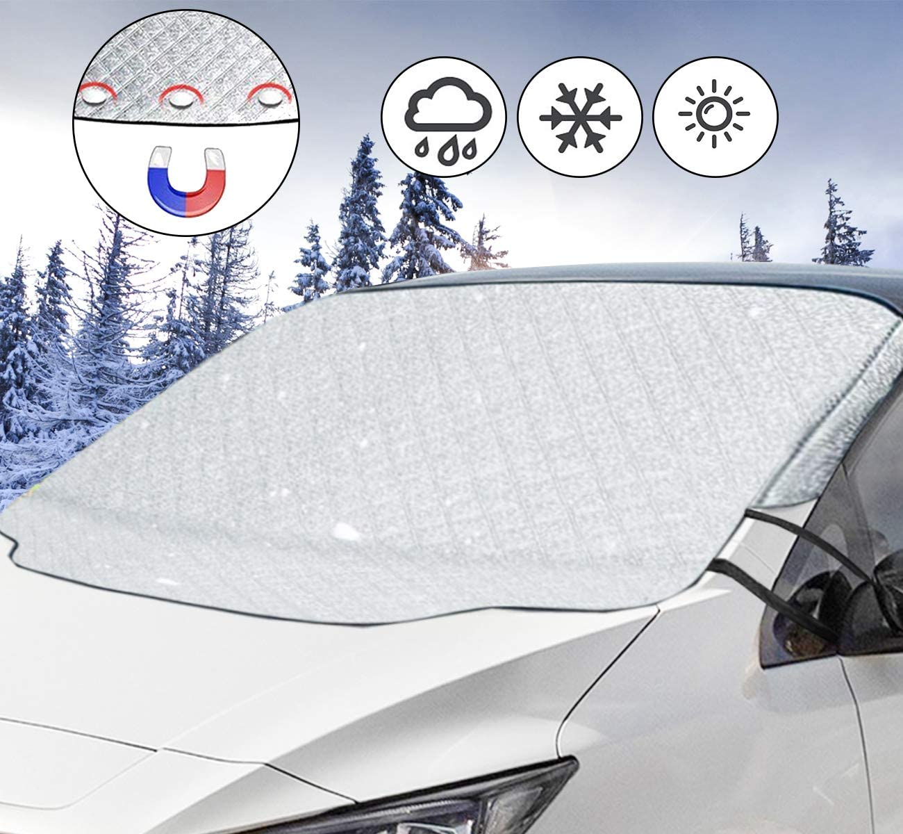 iiSPORT Car Windshield Cover Magnetic Snow Cover Heavy Duty Car Windscreen Frost Protector Ice Guard Dust Sun UV Resistant for Cars Standard Car Size 145 * 111cm SUVs in All Weather