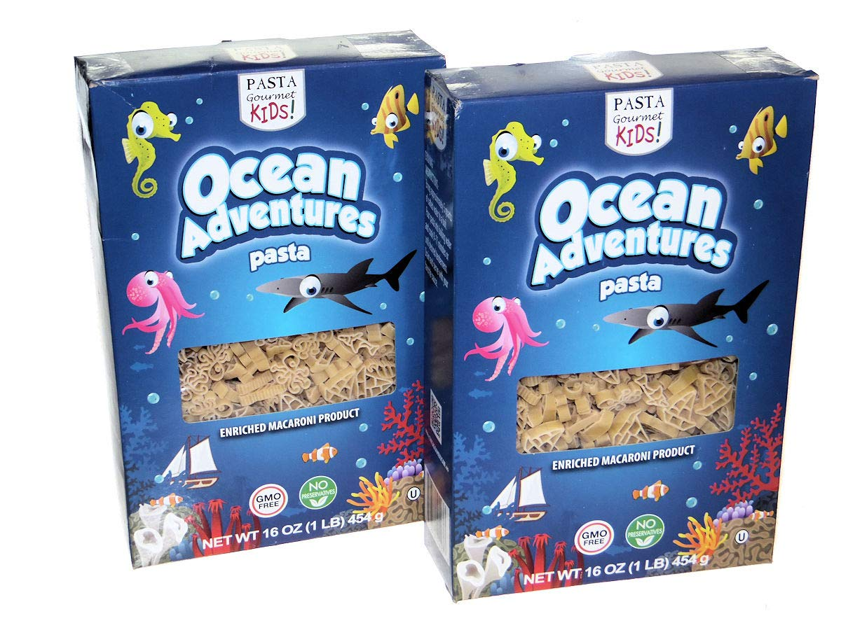 Pasta, Ocean Adventures Pasta with Sea Creature & Boat Shapes, Kosher and GMO Free, 16 Ounces (2 Pack)