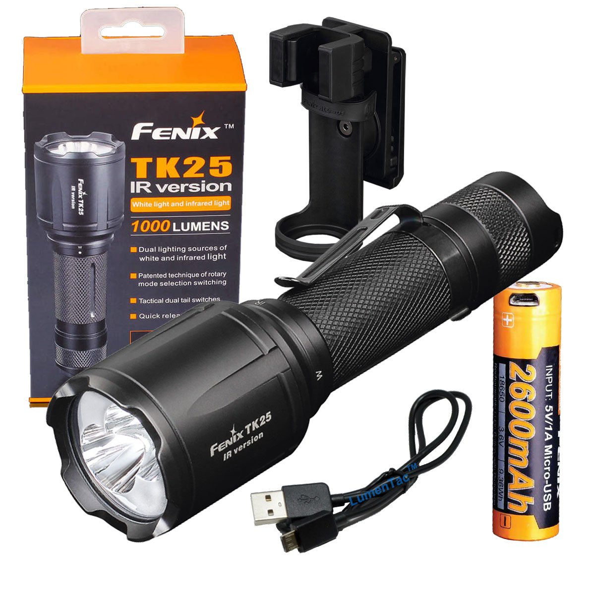 Fenix Tk25 IR (TK25IR) 1000 Lumen LED 3000mW 850nm Infrared Tactical Flashlight w/ Fenix USB Rechargeable Battery & LumenTac Charging Cable by Fenix