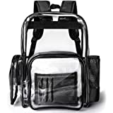 Clear Backpack, Packasso Heavy Duty Large Sturdy Waterproof Oxford Fabric Bottom Roomy Clear Bag for Adults, Boys, Girls, Security, Stadium, School, Work, Travel and More