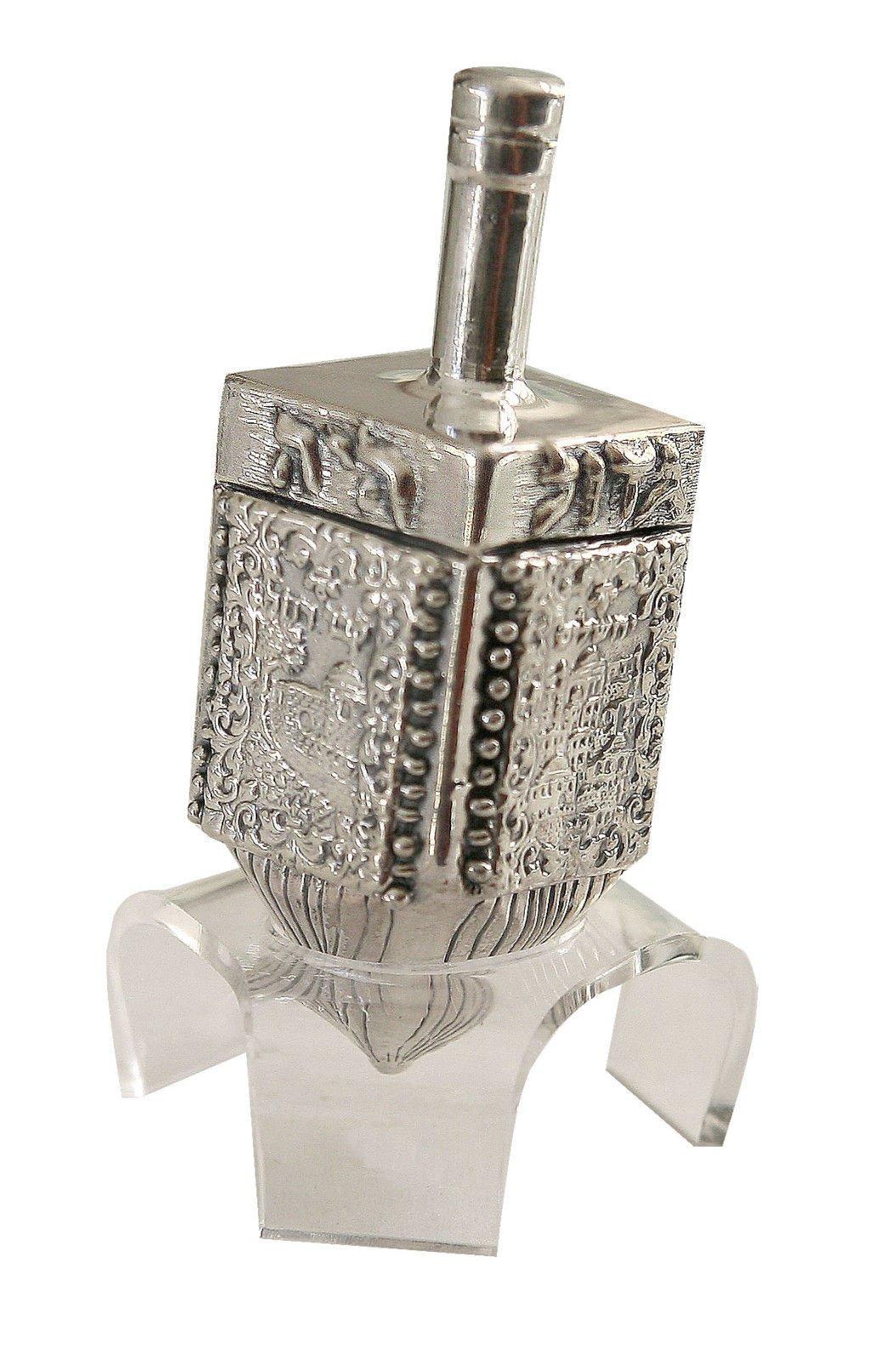 Hanukkah Chanukka Big Dreidel 925 Sterling Silver, Old Jerusalem Skyline Hand Made Size: 4.0'' x 1.25'' Stand Optional by Judaica (Image #2)