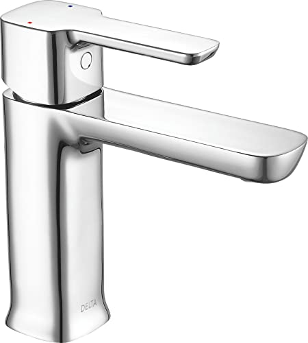 Delta Faucet Modern Single Hole Bathroom Faucet, Single Handle Bathroom Faucet Chrome, Bathroom Sink Faucet, Drain Assembly, Chrome 581LF-HGM-PP