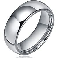 Sj Fashion 8mm Dome Polished Plain Tungsten Ring Mens Wedding Bands Comfort Fit