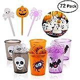 PBPBOX 72 Packung Halloween Essens Spießchen auflagen mit Glitzerspinnen, Kürbis Schädeldesign