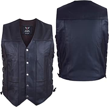 Men/'s Club Soft Leather Motorcycle Biker Vest concealed carry for firearms