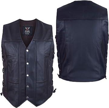 Men/'s Motorcycle Biker Concealed Carry gun pocket  Leather Vest