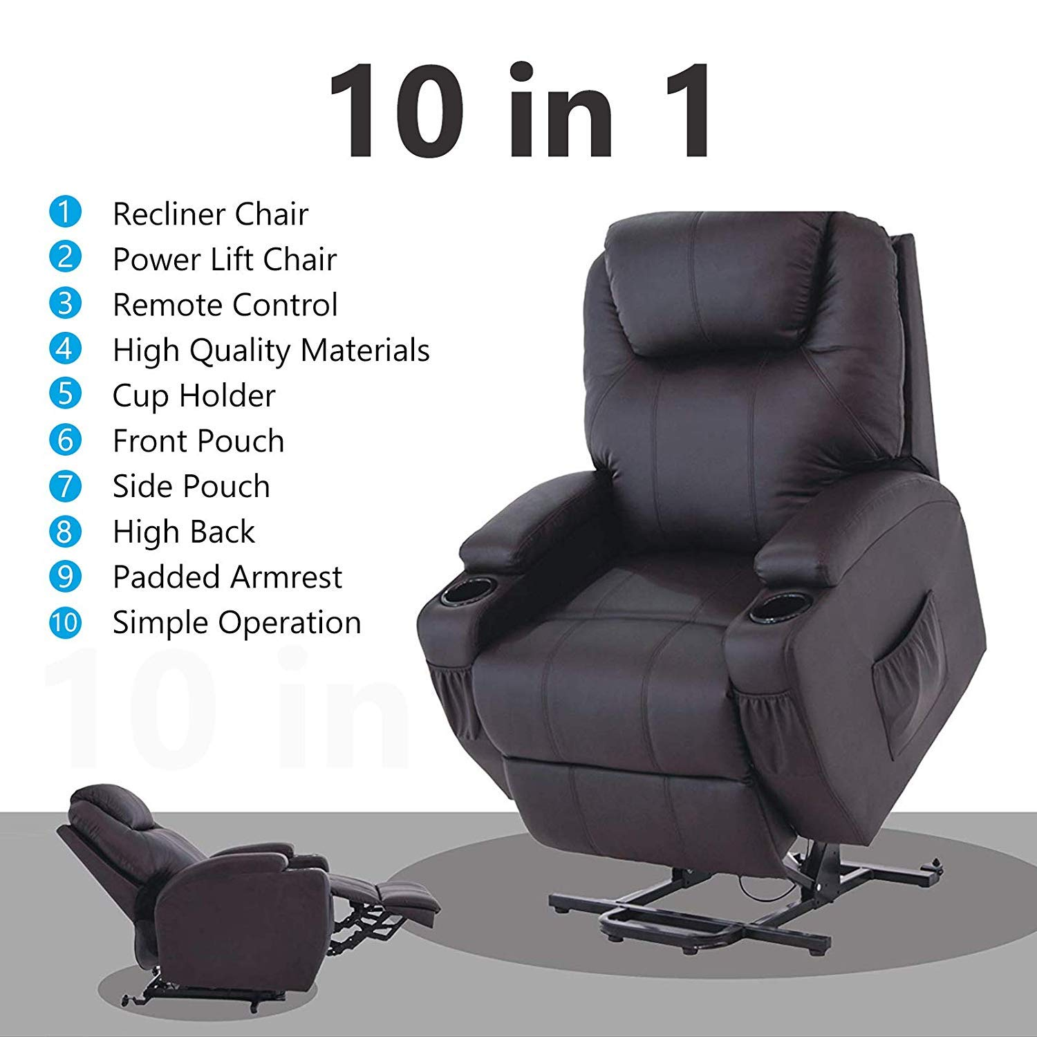 Awe Inspiring Mecor Lift Chairs For Elderly Power Lift Recliner Bonded Leather Lifting Sofa Chair With Remote Control Reinforced Heavy Duty Reclining Mechanism Caraccident5 Cool Chair Designs And Ideas Caraccident5Info