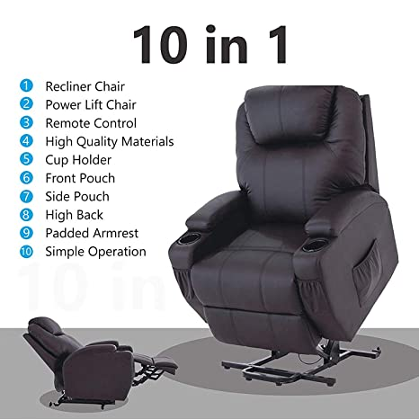 Fabulous Mecor Lift Chairs For Elderly Power Lift Recliner Bonded Leather Lifting Sofa Chair With Remote Control Reinforced Heavy Duty Reclining Mechanism Machost Co Dining Chair Design Ideas Machostcouk