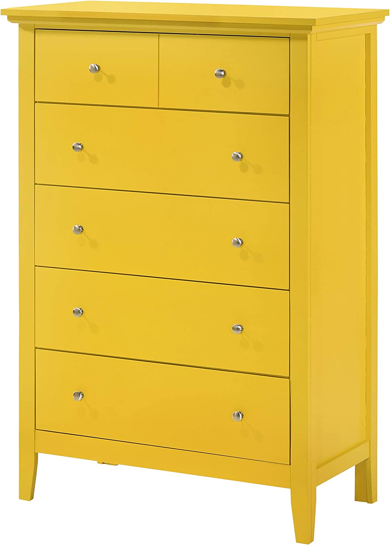 "Glory Furniture Hammond , Yellow Chest, 48"" H X 32"" W X 18"" D"