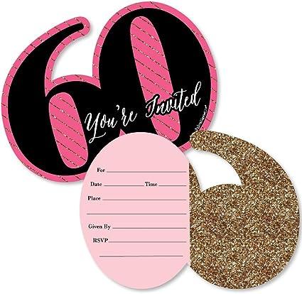 Amazon.com: Chic 60 cumpleaños, color rosa, negro y dorado ...