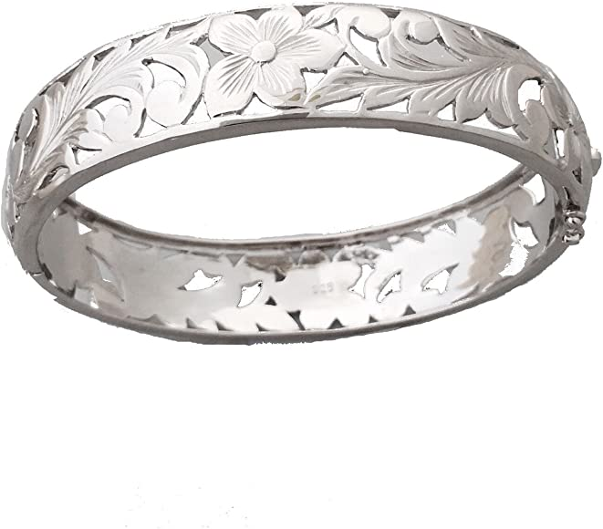 Hawaiian Bangle Plumeria Scroll 925 Sterling Silver cut out Bangle Bracelet