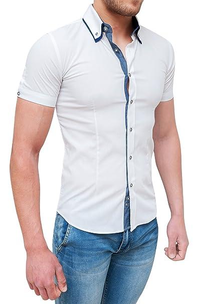 reputable site 73051 210a0 camicia uomo casual bianca maniche corte slim fit aderente ...