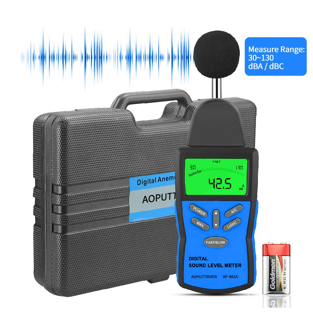 Digital Sound Level Meter,AP-882A Noise Level Meter Tester Range from 30-130dB,Digital Decibel Meter with LCD Backlight/Max Hold,/Sensitivity Adjustment and dBA/C Switch(Battery Included) by AOPUTTRIVER