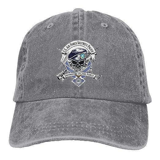 Amazon.com  Jiuyuan Defensor Fortis Air Force Security Force Baseball Cap  Unisex Denim Dad Hats  Clothing 764411a7c55