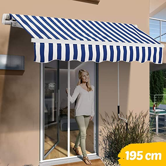 Bakaji - Toldo de sol para balcón, con brazos extensibles, parasol enrollable para exterior, jardín, con manivela, marco de aluminio, tamaño 195 x 150 cm, Blu Bianco: Amazon.es: Jardín