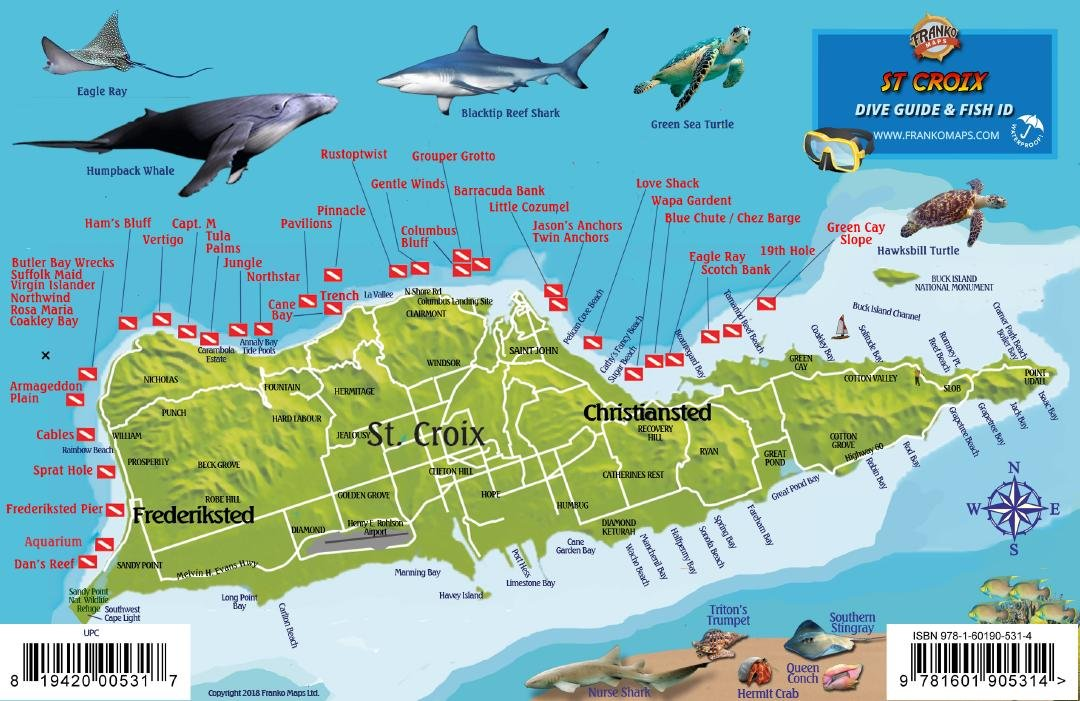 St. Croix USVI Dive Map Fish ID Virgin Islands Franko Maps ...