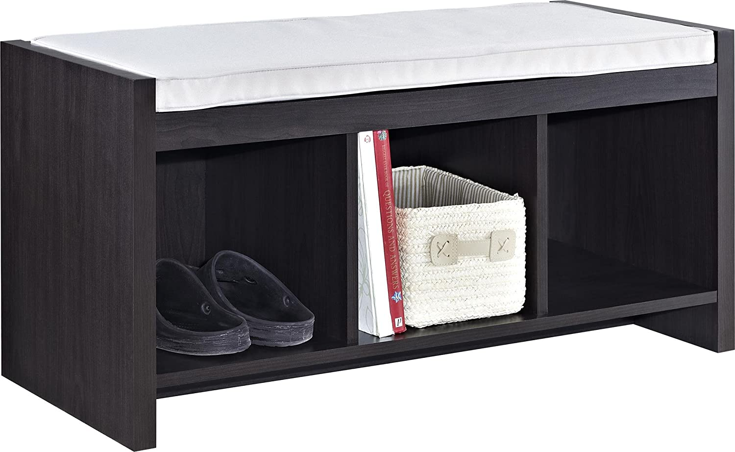Espresso Foyer Bench : Amazon ameriwood home penelope entryway storage bench with