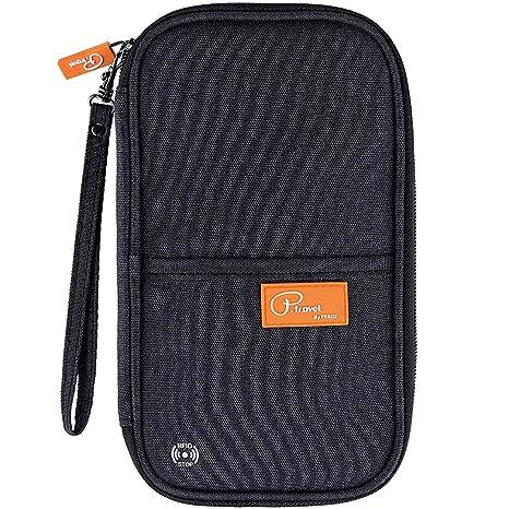 92936e374407 RFID Travel Passport Wallet, Family Passport Holder with Hand Strap, RFID  Blocking Credit Card Wallet for Men & Women, Trip Document Organizer Fits  ...