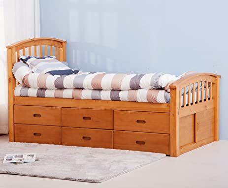 merax twin size platform storage bed solid wood bed with 6 drawers natural - Wood Bed Frame With Drawers