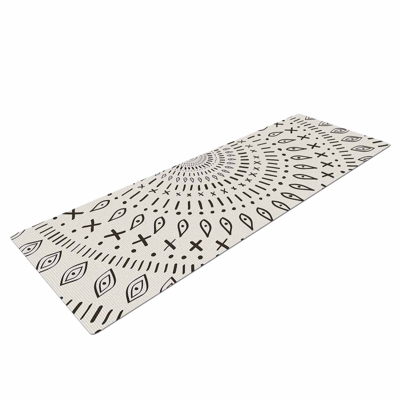 72 x 24 72 x 24 KESS Global Inc KESS InHouse Amanda Lane Bohemian Tribal Mandala black Beige Digital Mat AL1033AYM01