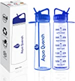 Aqua Quench Motivational Sports Water Bottle 900ml with Goal Tracking Time Markings - Multiple Colour Bottles - BPA Free; Non Leak Plastic Flip Straw with easy locking system - Ideal for Outdoors; Sports and Leisure; Adults & Children