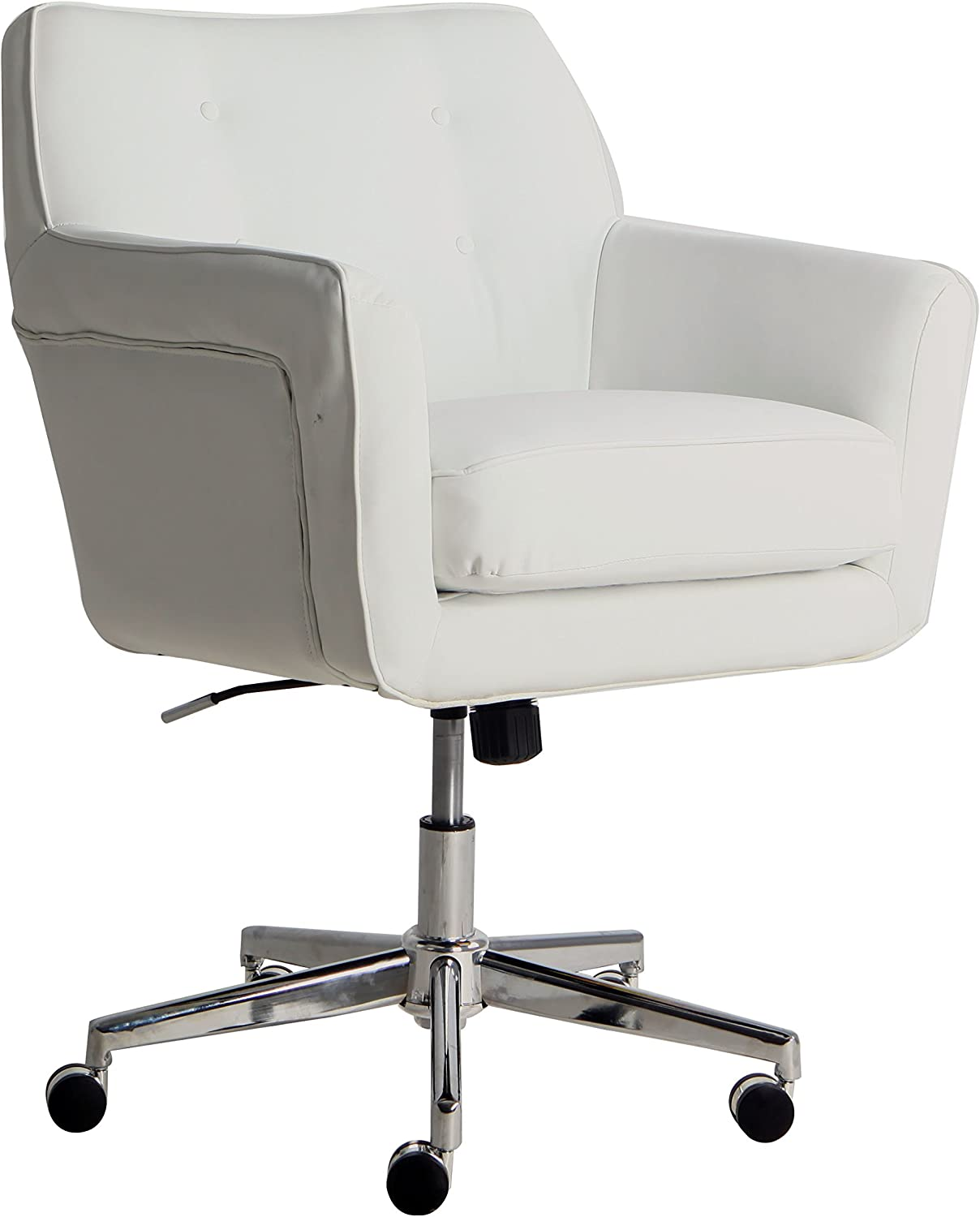Serta Style Ashland Home Office Chair, Clean White Bonded Leather