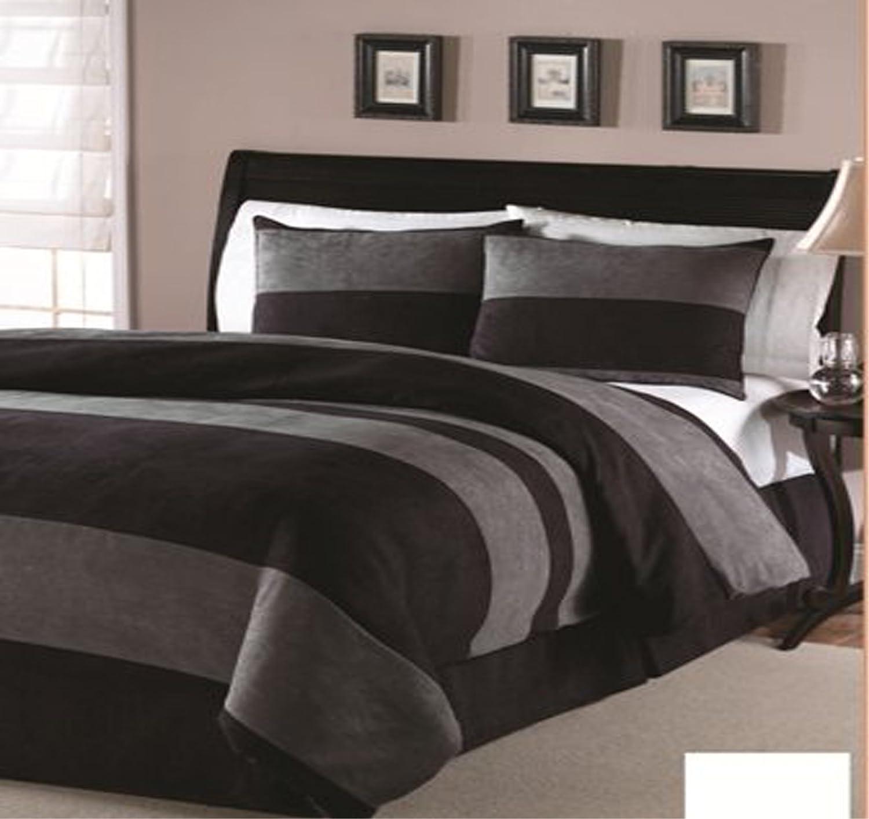 JBFF 4 Piece Luxury Microsuede Goose Down Alternative Comforter Set, King, Black/Gray