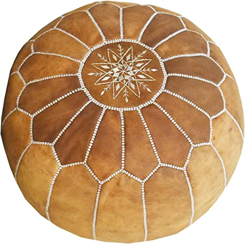 Fezcrafts Genuine Leather Round Ottoman Hand Stitched Unstuffed Moroccan Pouf Footresf Livin Room Cocktail Seats Cowskin Tribal Bohemian Home Decor