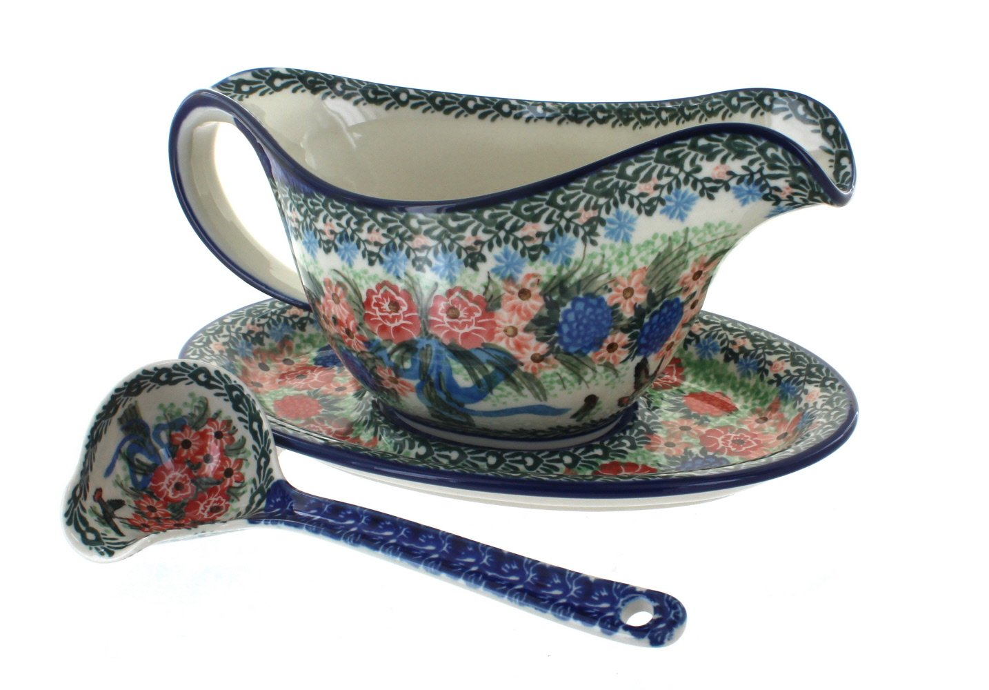 Blue Rose Polish Pottery Blush Bouquet Gravy Boat & Ladle