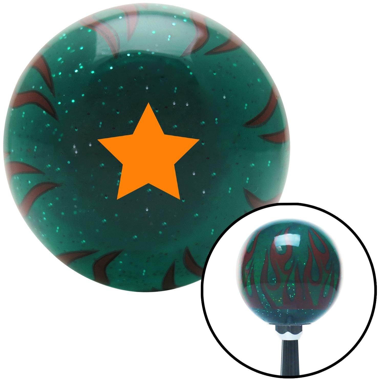 Orange Star Green Flame Metal Flake American Shifter 300169 Shift Knob