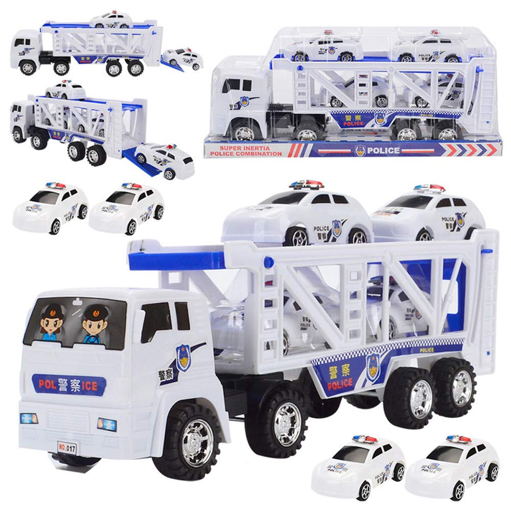 Amazon Com Dicpolia Large Double Deck Trailer With Four Mini Police