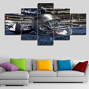 Large NFL Sports Painting Dallas Cowboys Canvas Prints Wall Art Super Bowl Home Decor Framed 5 Pcs Pictures Modern Artwork Home Decor for Living Room Giclee Stretched Ready to Hang(60''Wx32''H)