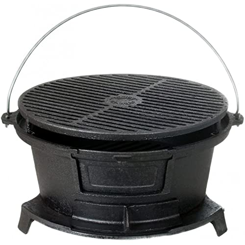 Cajun Classic Round Seasoned Cast Iron Charcoal Hibachi Grill - Gl10447