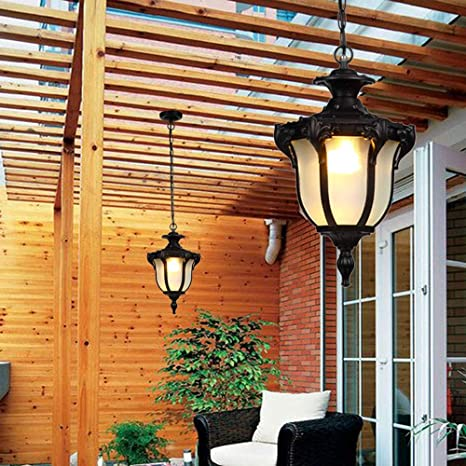 Wylolik Luces colgantes de techo impermeables al aire libre Loft Vintage Industrial Aluminio Bola de cristal Exterior resistente a la lluvia L/ámparas colgantes Continental Vineyard Villa Patio Patio P
